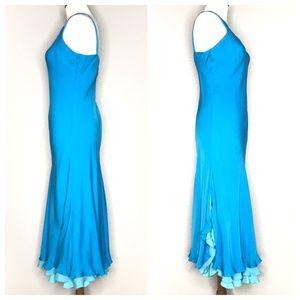 Lauren Ralph Lauren Dresses - Lauren Ralph Lauren Blue Silk Ruffle Dress A200809